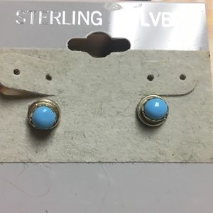Sterling Silver Sleeping Beauty Turquoise Earrings